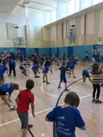Wellington Fun Run Warm-up in Gym