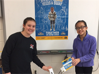 CMS Community Svc. Club members Megan Serpa and Erica Chen for Pennies 4 Patients
