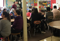 Parents at Butler Pigeon Sharing Day read