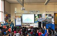 WBZ Meteorologist Barry Burbank visits with Butler First Graders