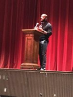 Author and Scholar Clint Smith addressing BHS 10th and 11th graders