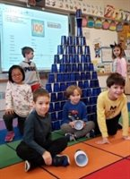 Wellington kindergartners with a 100 cup tower