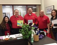 Butler World Read Aloud Day-Principal Danielle Betancourt, Fire Chief David Frizzell, Asst. Fire Chief Wayne Haley, Firefighter Ross Vona, Admin. Asst. Maeve Freaney