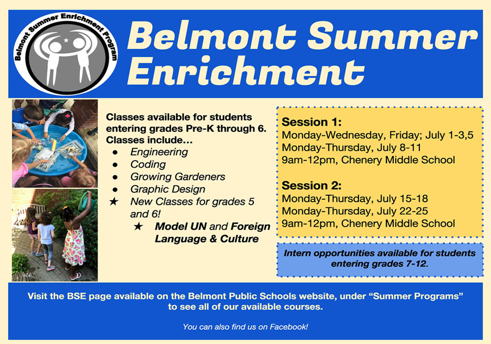 Belmont Summer Enrichment Flyer